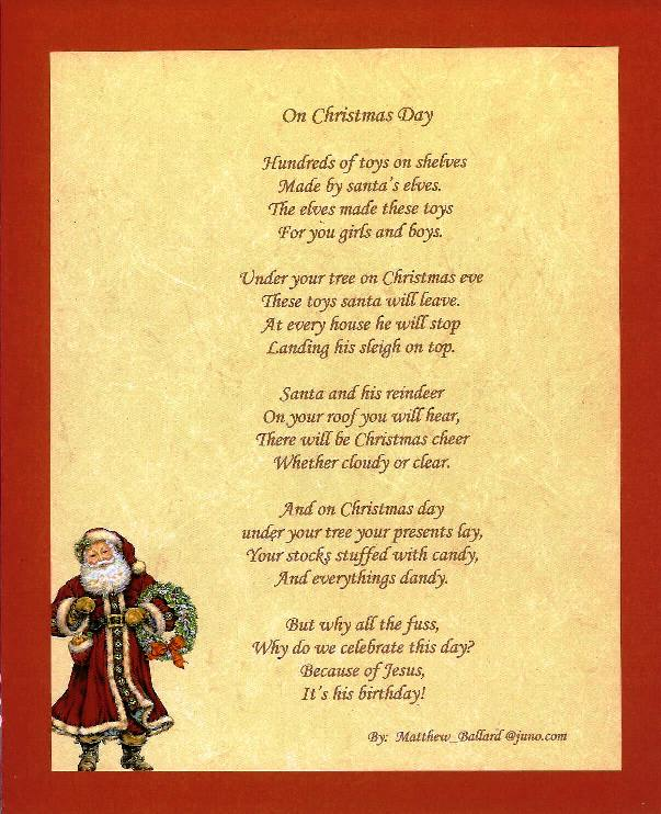 on christmas day rhymes and poems